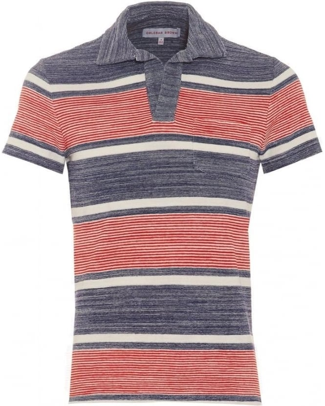 Orlebar Brown Mens Terry Ronald Stripe Polo Shirt, Pacific Ecru Red Polo