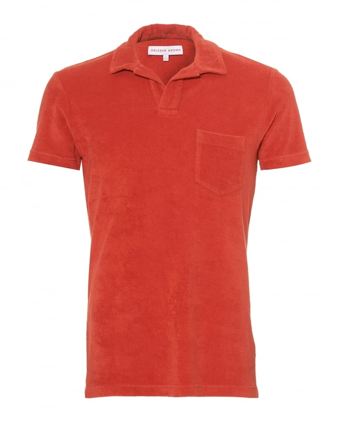 Orlebar Brown Mens Terry Towelling Polo Shirt, Berry Red Polo