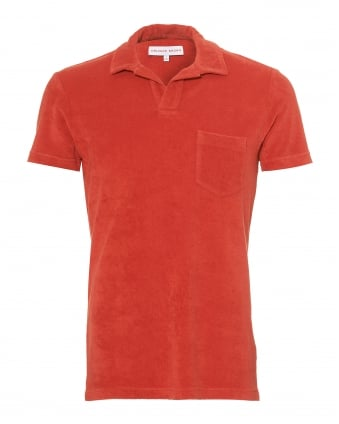 Mens Terry Towelling Polo Shirt, Berry Red Polo