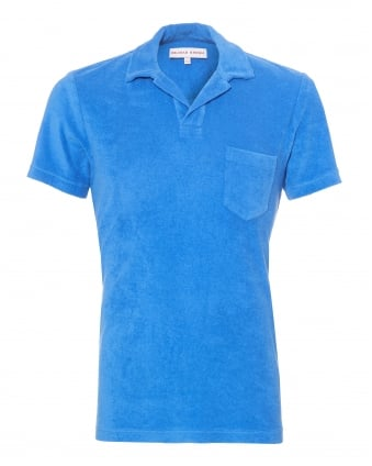 Mens Terry Towelling Polo Shirt, Heron Blue Polo