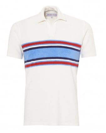 Mens Terry Towelling Polo Shirt, Stripe Panel White Polo