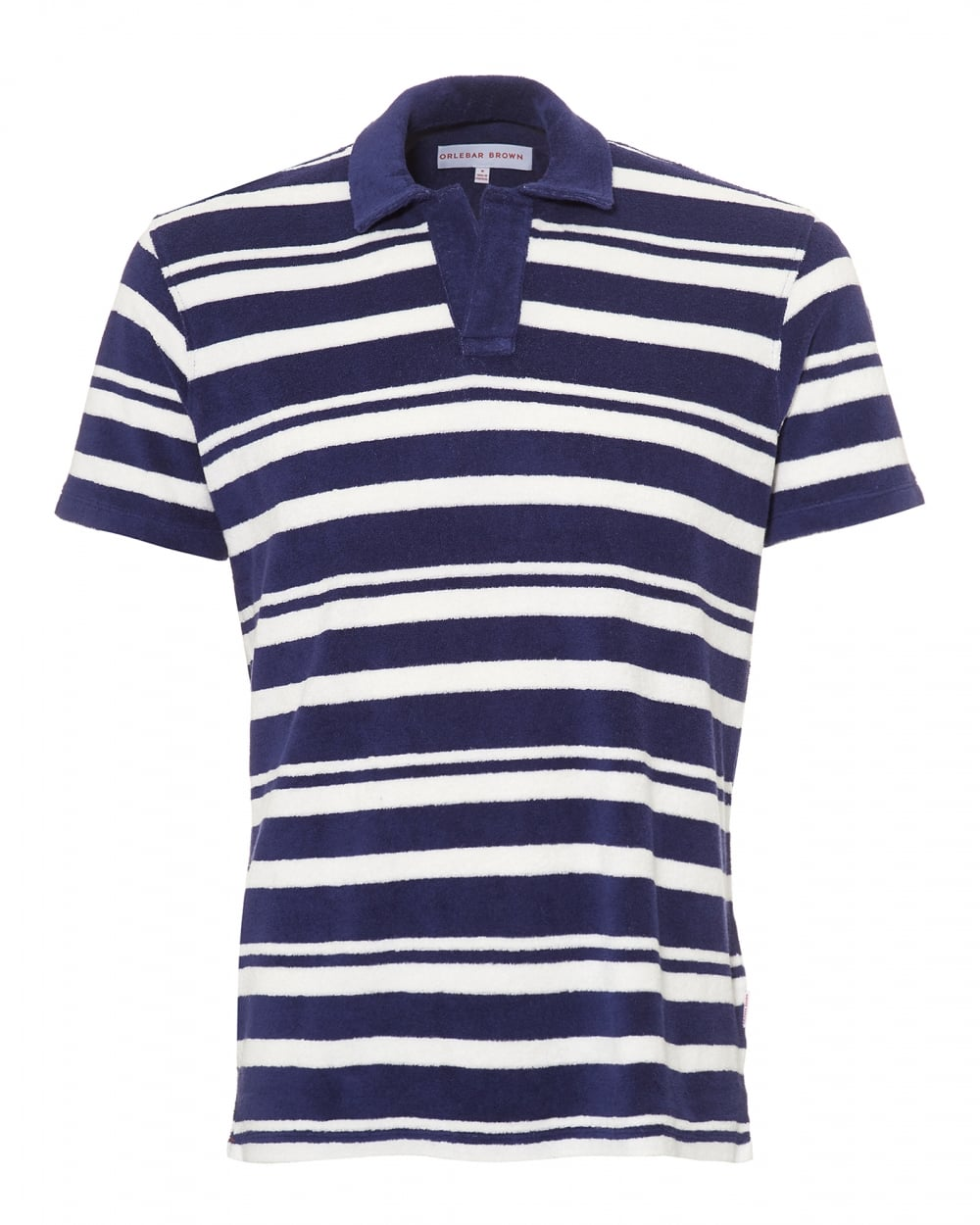 648fb6a29 Orlebar Brown Mens Terry Towelling Polo Shirt, Striped Navy White Polo