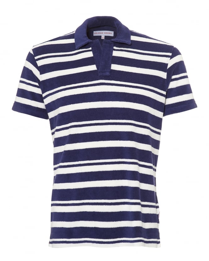 Orlebar Brown Mens Terry Towelling Polo Shirt, Striped Navy White Polo