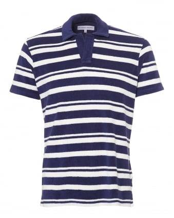 Mens Terry Towelling Polo Shirt, Striped Navy White Polo