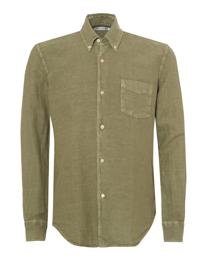 Our Legacy Mens 1950's Cotton Linen Mix Olive Green Shirt