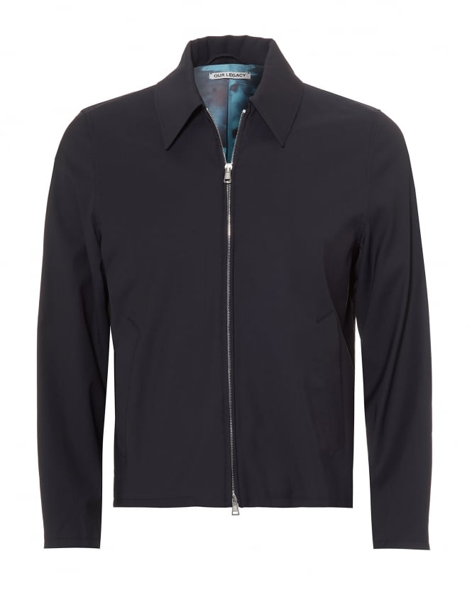 Our Legacy Mens Doby Wool Blend Navy Blue Jacket