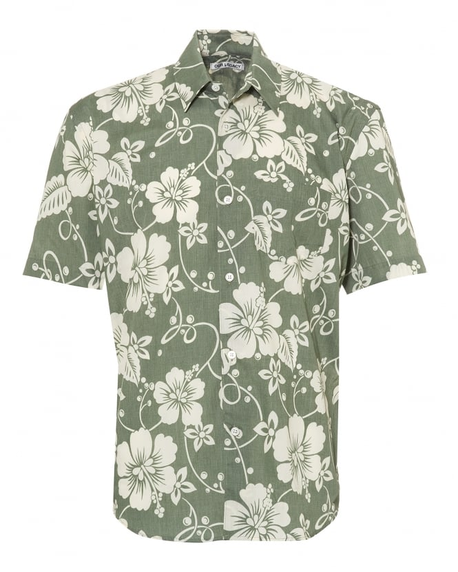 Our Legacy Mens Initial Short Sleeve Green Hibiscus Flower Shirt