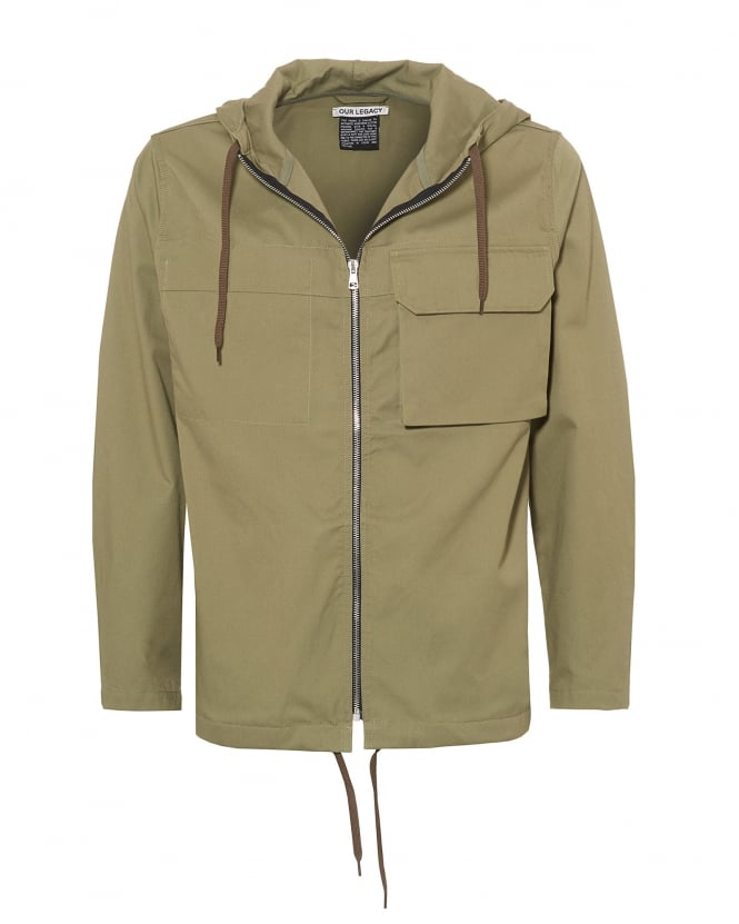 Our Legacy Mens Lizard Parka, Olive Green Tactic Twill Jacket