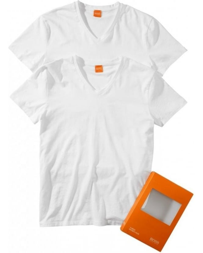 Hugo Boss Orange Pack of Two T-Shirts, Tyll White V-Neck Tees