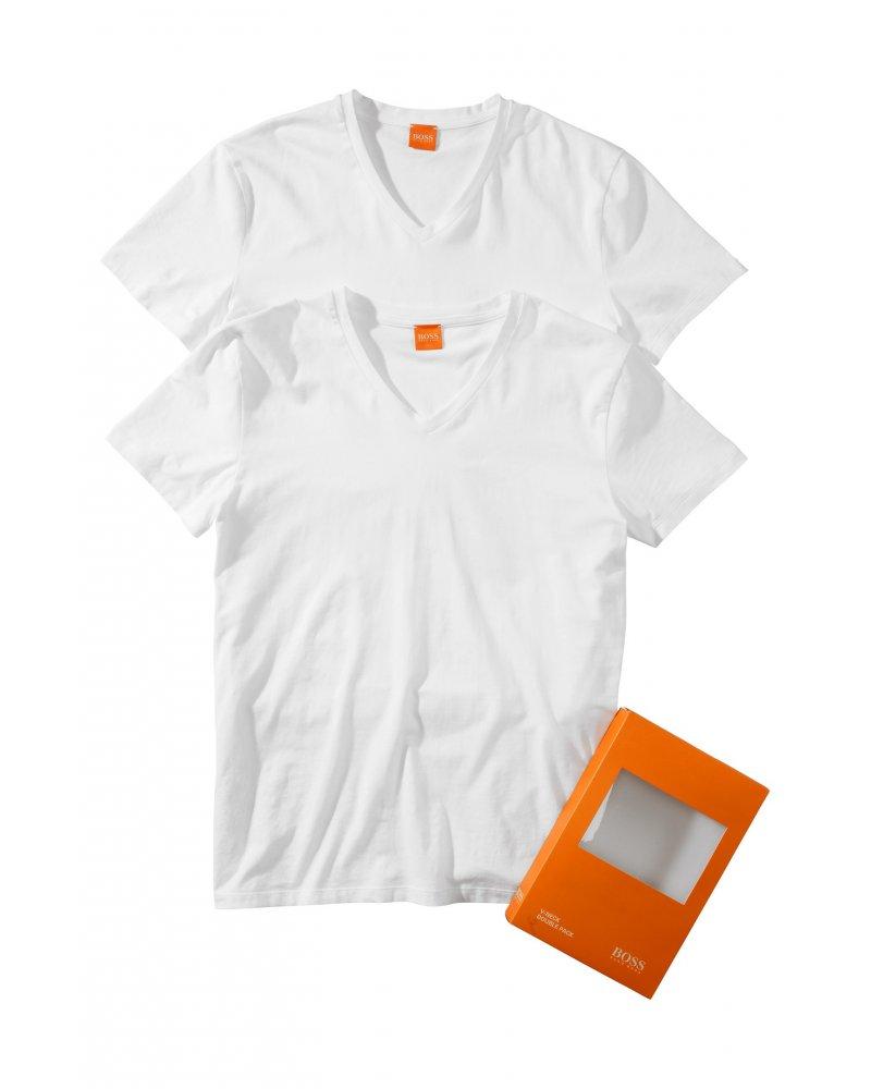 hugo boss orange pack of two tyll white v neck t shirts