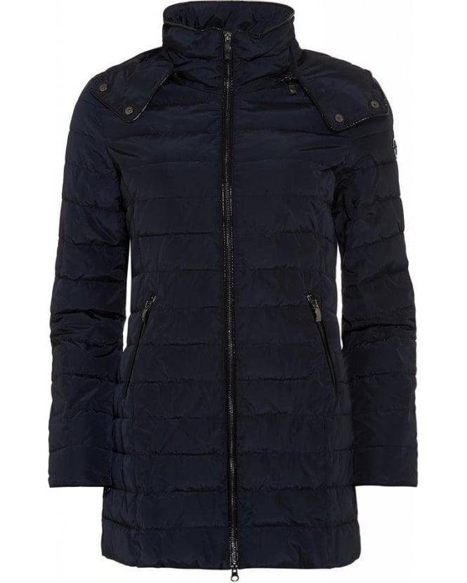 Armani Jeans Padded Jacket, Navy Quilted Hooded Coat