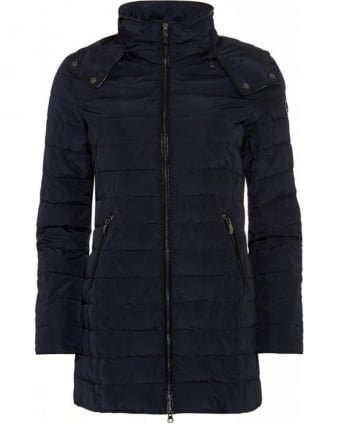 Padded Jacket, Navy Quilted Hooded Coat