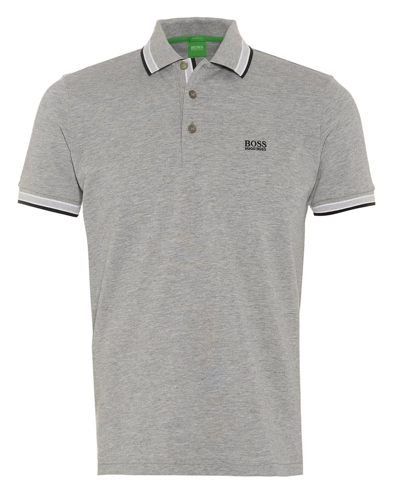 Hugo boss green paddy mens polo shirt light grey tipped polo for Men s regular fit shirts