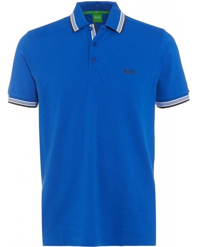 Hugo Boss Green Paddy Royal Blue Tipped Polo Shirt