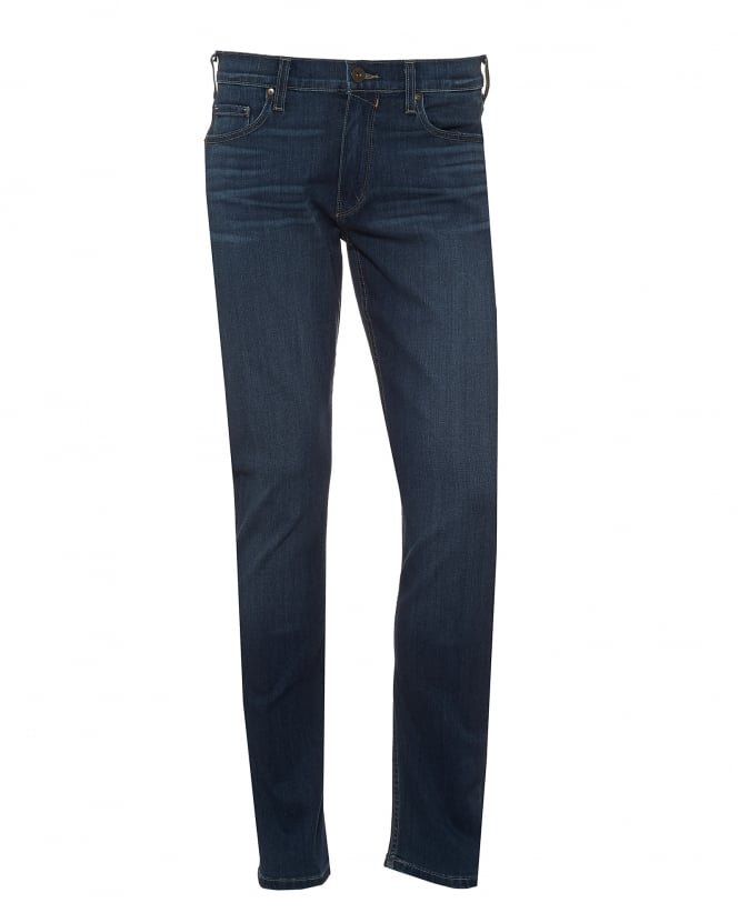 Paige Jeans Mens Lennox Jeans, Leo Wash Navy Blue Denim