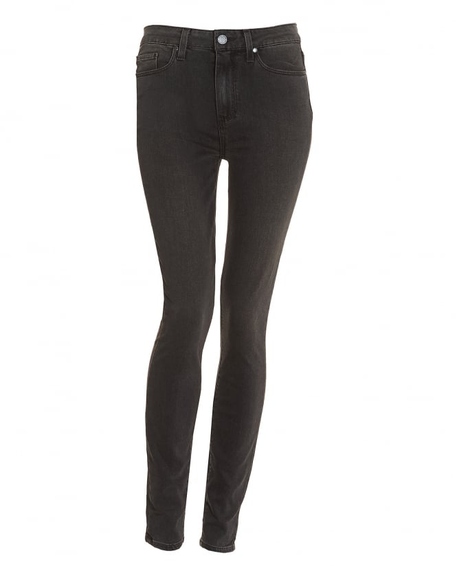 Paige Jeans Womens Hoxton High-Rise Smoke Grey Ultra Skinny Jeans