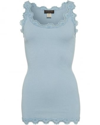 Pastel Blue 'Babette' Ribbed Vest Top
