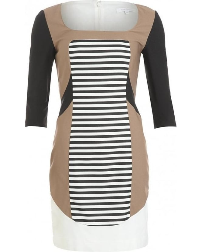 Patrizia Pepe Black And White Block Stripe Dress