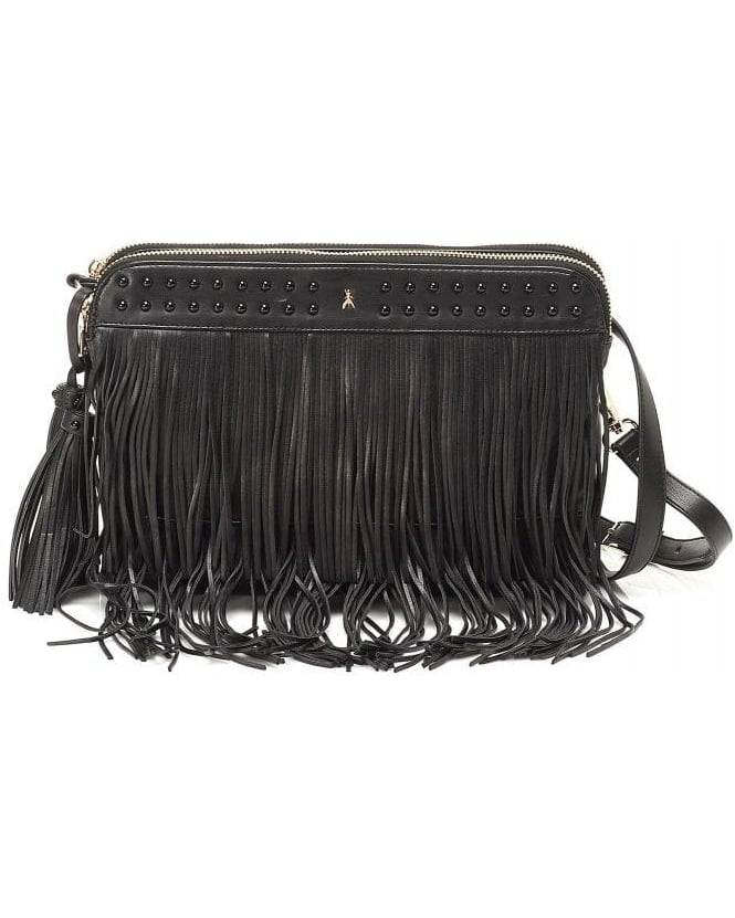 Patrizia Pepe Black Leather Effect Tassel Tote Bag