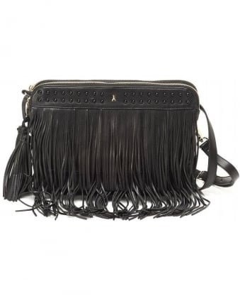 Black Leather Effect Tassel Tote Bag