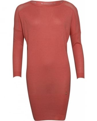 Peach Blossom Knitted Jumper Dress