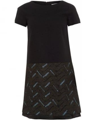 Pinicio Black A-Line Abstract Print, Tulle Hem Dress