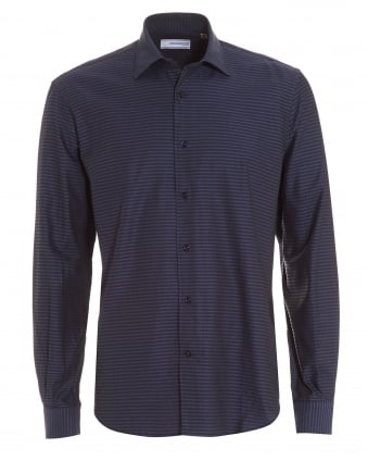 Mens Navy Blue Micro Print Cotton Shirt