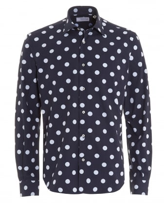 Mens Navy Blue Polka Dot Cotton Shirt