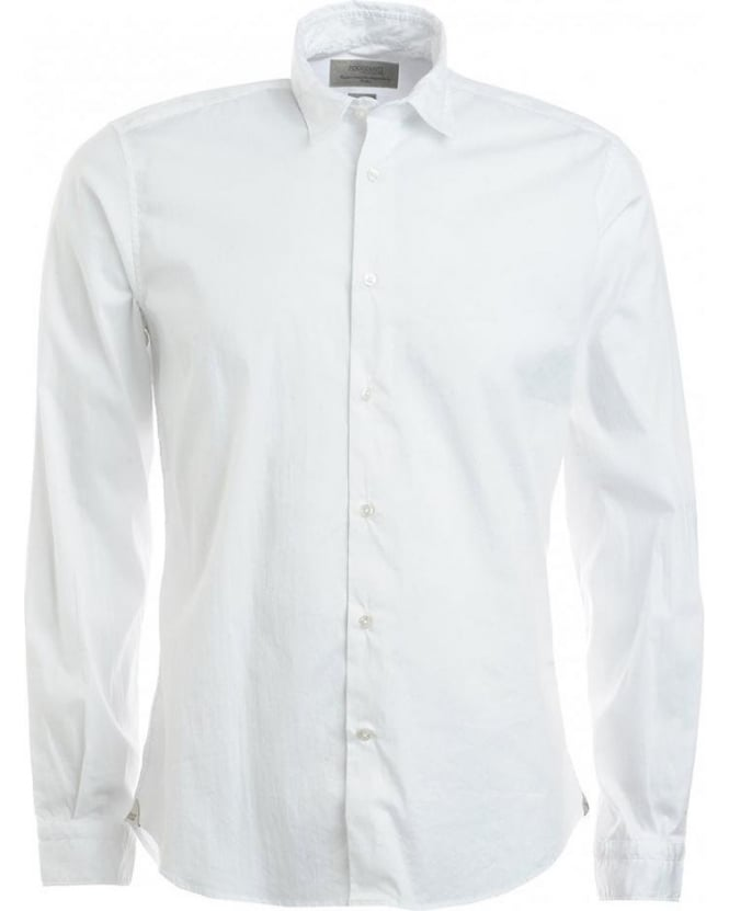 Poggianti Shirts White Long Sleeve Button Up Stretch Shirt