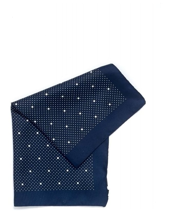 Hugo Boss Black Polka Dot Navy Blue Pocket Square