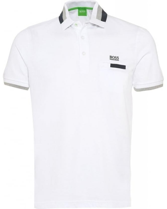 Hugo Boss Green Polo 'Paddys' White Polo Shirt