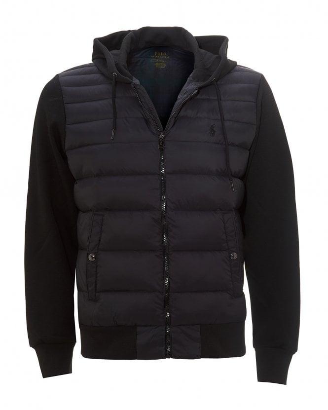 Ralph Lauren Mens Black Quilted Hoodie, Hooded Down Jacket