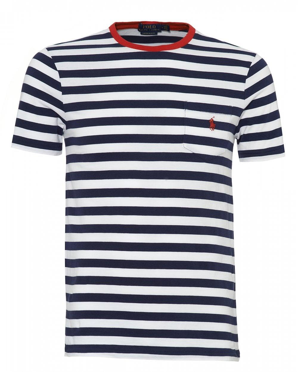 Ralph Lauren Mens Striped T-Shirt, Newport Navy Blue White Tee