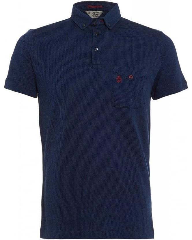 Original Penguin Polo Shirt, Alders Navy Blue Houndstooth Polo