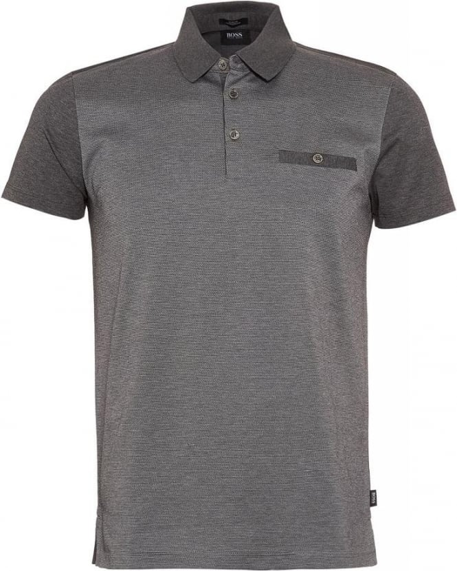 Hugo Boss Black Polo Shirt, 'Ancona 21' Grey Slim Fit Polo