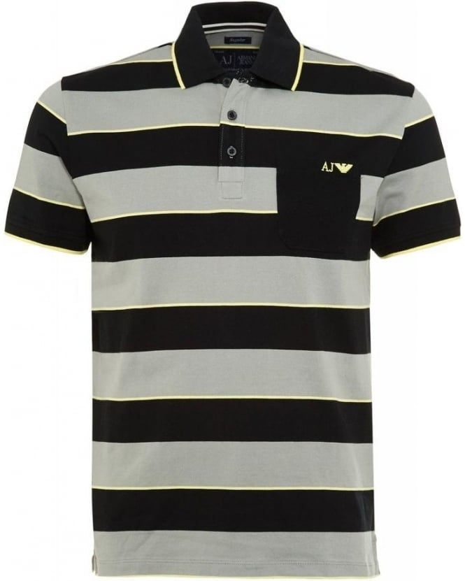 Armani Jeans Polo Shirt, Black And Grey Striped Regular Fit Polo