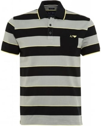 Polo Shirt, Black And Grey Striped Regular Fit Polo