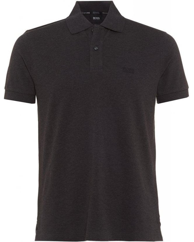 Hugo Boss Black Polo Shirt, Charcoal Grey Firenze Logo Modern Essential Polo