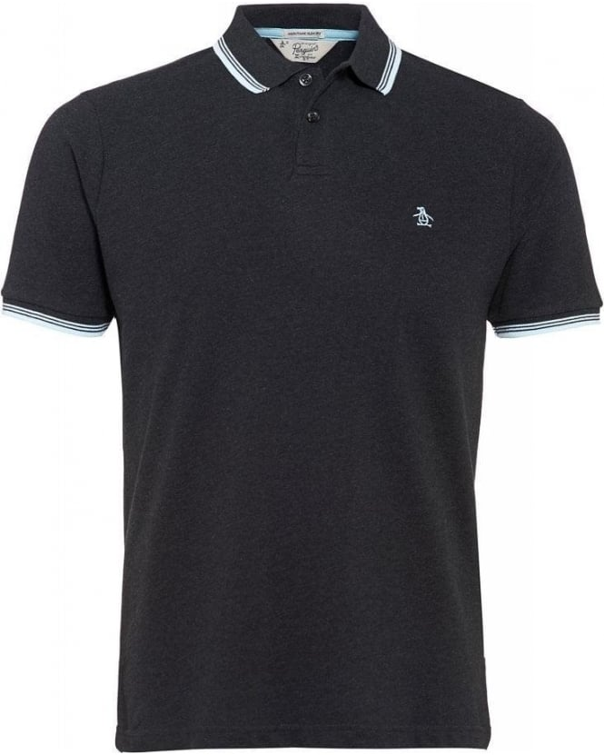 Original Penguin Polo Shirt, 'Duo' Dark Grey Slim Fit White Tipped Polo