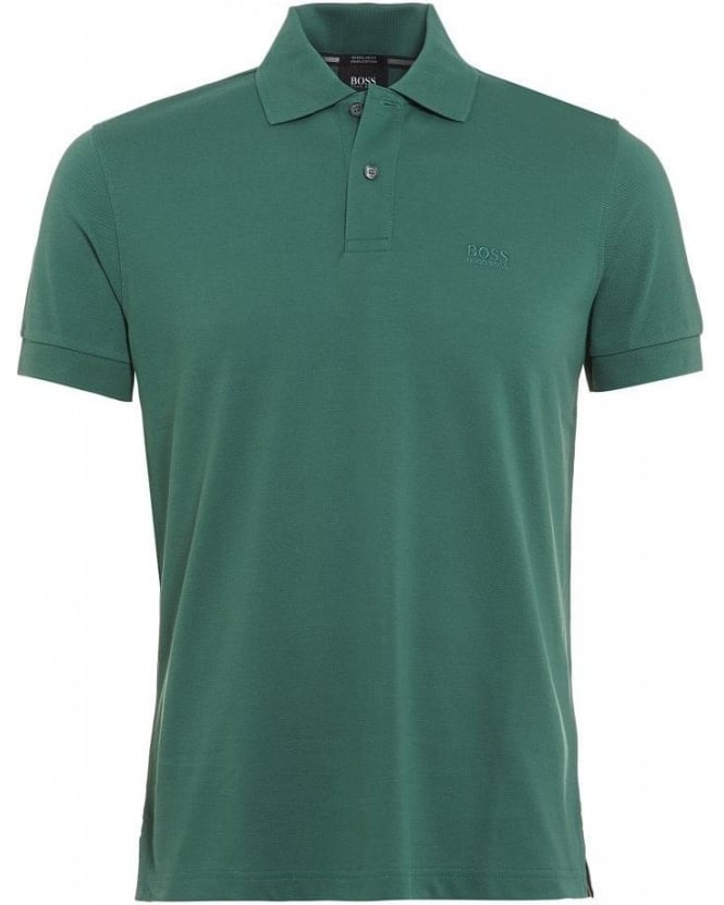 Hugo Boss Black Polo Shirt, Green Firenze Logo Modern Essential Polo