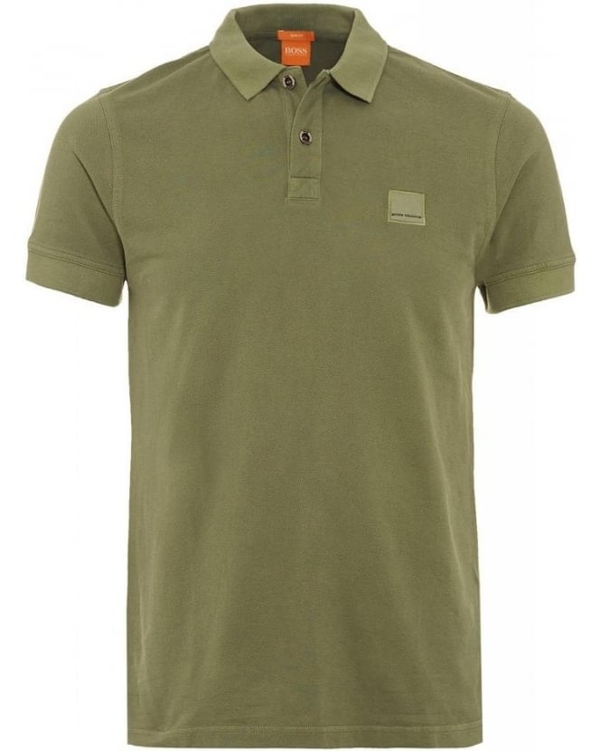 Hugo Boss Orange Polo Shirt, Green Slim Fit Pique Pascha Polo