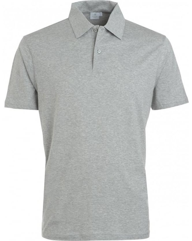 Sunspel Polo Shirt, Grey Melange Jersey Polo