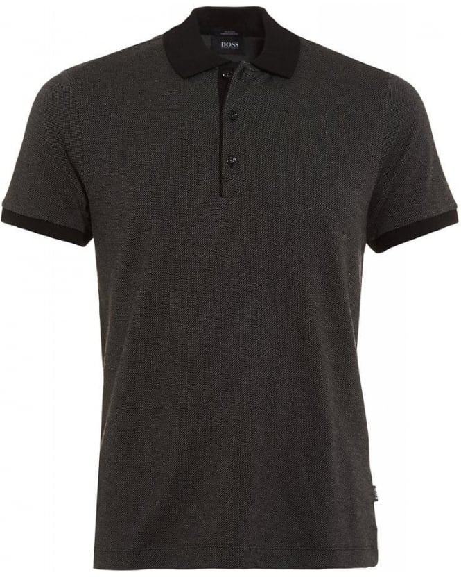 Hugo Boss Black Polo Shirt, Grey 'Paullo 01' Slim Fit Cotton Polo