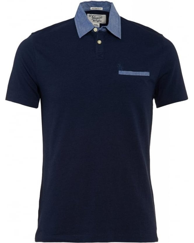 Original Penguin Polo Shirt, Navy Contrast Chambray Collar Polo