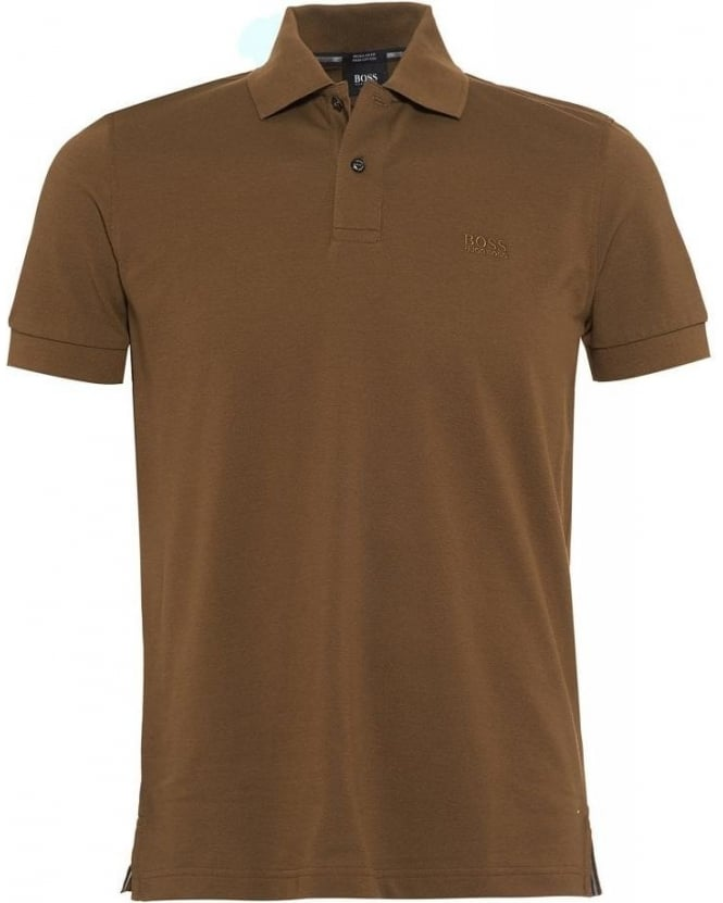 Hugo Boss Black Polo Shirt, Olive 'Firenze Logo' Pique Polo