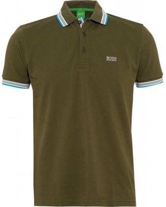Polo Shirt Olive Green 'Paddy' Tipped Polo