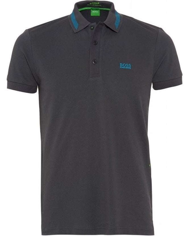 Hugo Boss Green Polo Shirt, 'Paule' Charcoal Grey Slim Fit Tipped Polo