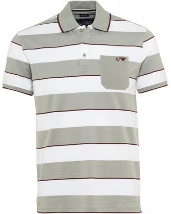 Polo Shirt, White And Grey Striped Regular Fit Polo