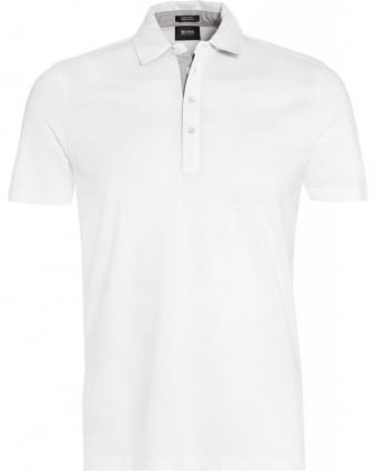Polo Shirt, White 'Firenze 51' Pique Polo