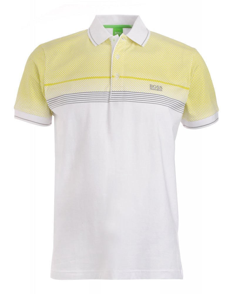 hugo boss green polo shirt white slim fit yellow dot. Black Bedroom Furniture Sets. Home Design Ideas